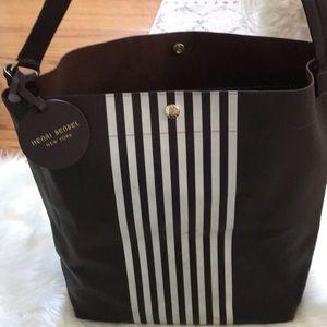 Henri Bendel New York Brown striped tote